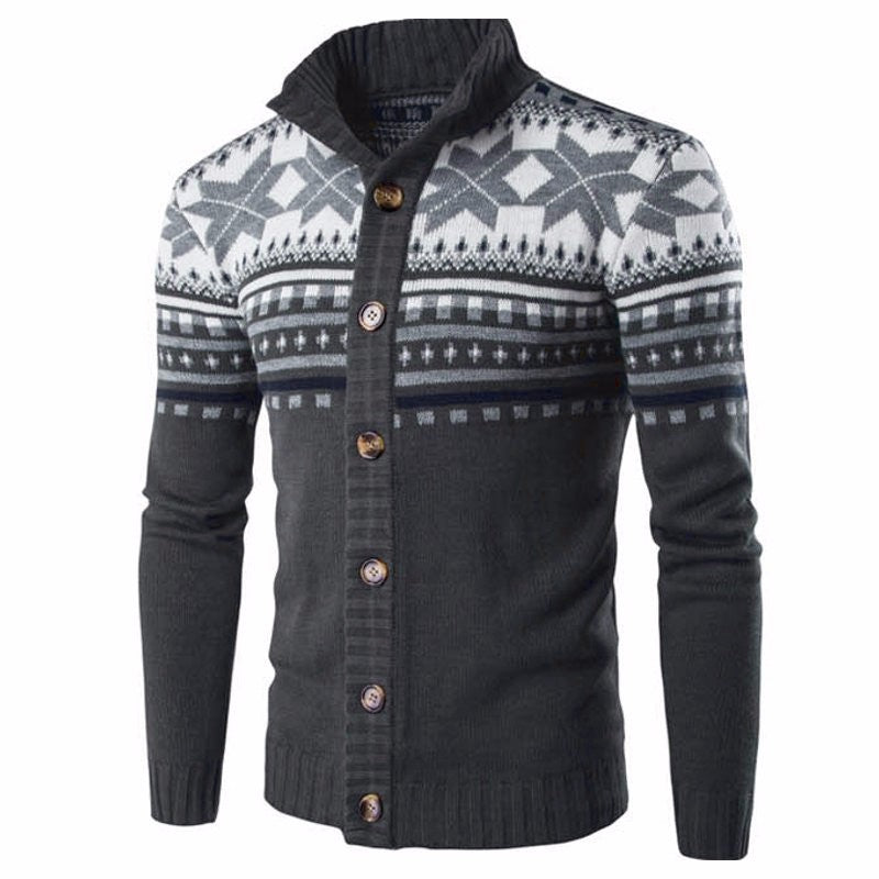 Autumn Winter Chic Knitted Sweater Cardigan Vintage Ethnic Style Mens Long Sleeve Buttons Down Sweater Jacket Male Coat Knitwear