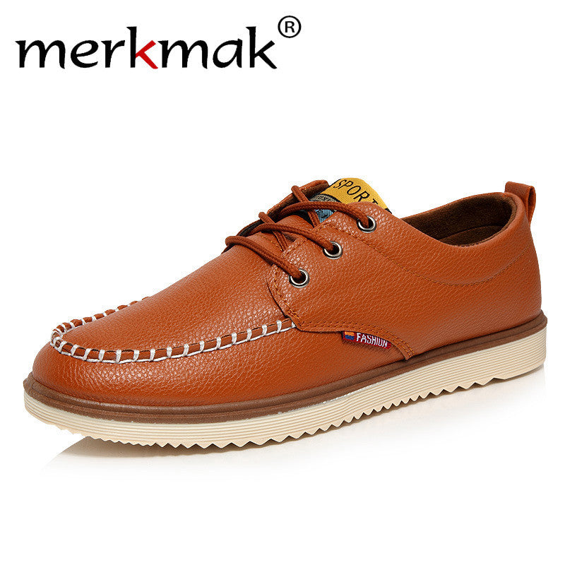 Merkmak Newly Men Shoes PU Leather 2016 Fashion British Style Casual Ankle Flats Shoes Luxury Brand Autumn Winter Zapatos Hombre