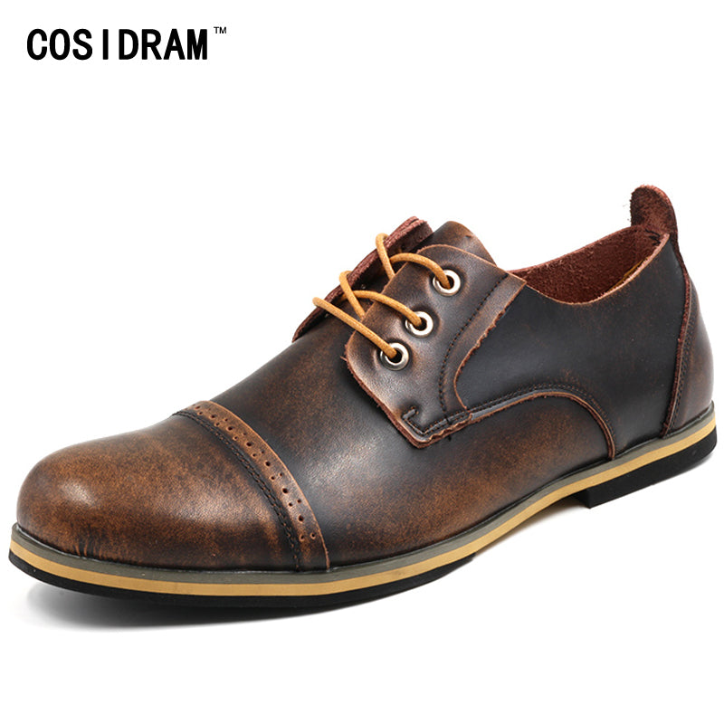 COSIDRAM Plus Size 45 46 47 Men Oxfords Genuine Leather Men Casual Shoes Autumn Flat Heels Fashion Men Shoes Male 2017 RMC-080
