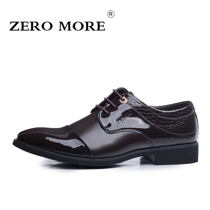 ZERO MORE Microfiber Leather Men Shoes Lace-up Spring Autumn Men Formal Shoes Men Wedding Shoes 38-44 EU size Free Shipping
