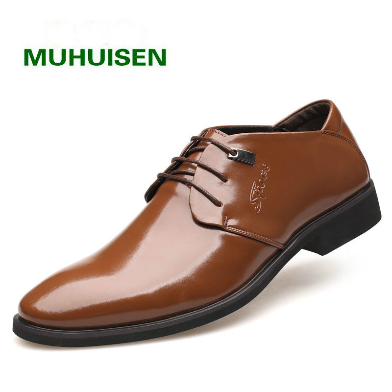 2017 Man Business Formal Shoes Genuine Leather Pointed Toe Mens shoes Leather Men Dress Shoes size38-44,free shipping