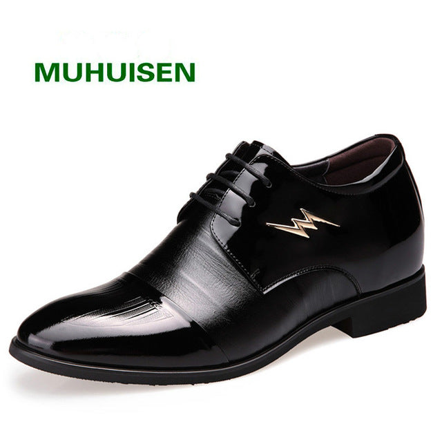 2017 Men bussiness Height Increasing Man shoes Casual lace-up Leather Shoe Size 38~44 ,free shipping