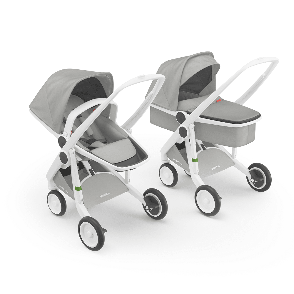 Greentom Carrycot & Reversible Stroller with White Frame - Urban Stroller