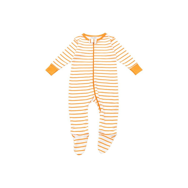 footed pajamas in orange marseille stripe - Urban Stroller
