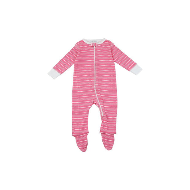 footed pajamas in pink stripes - Urban Stroller