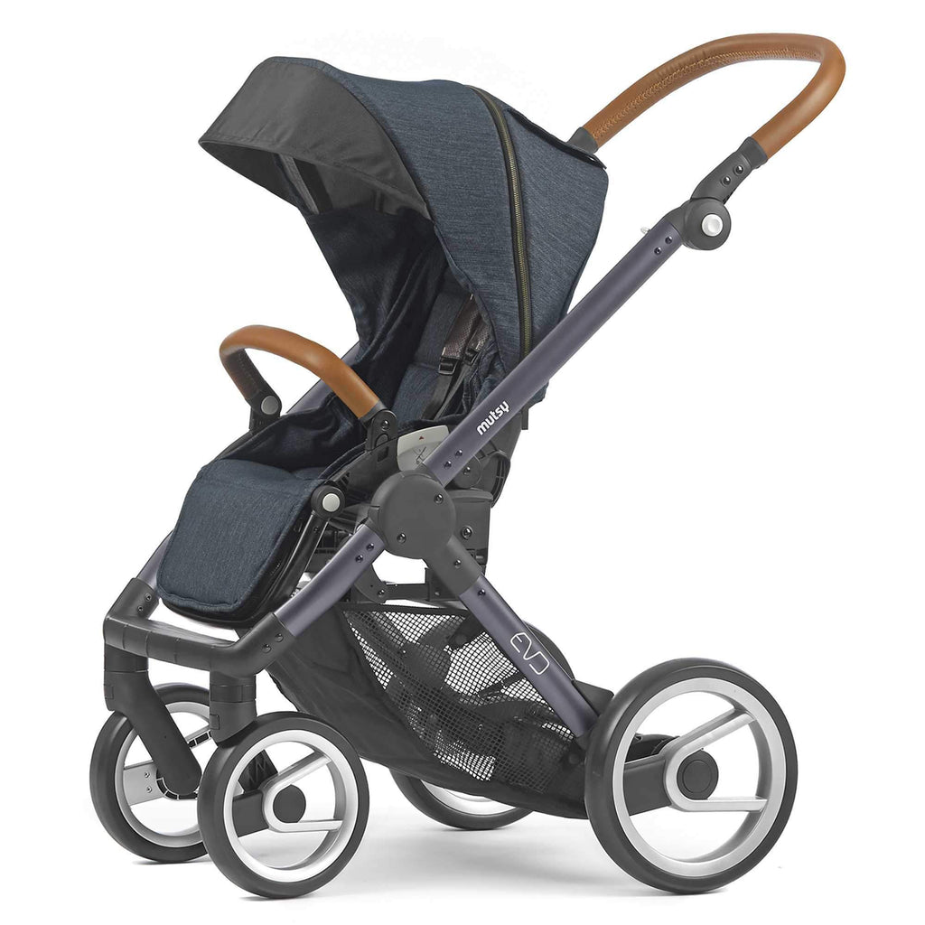 Mutsy Evo Stroller in Industrial Blue with Dark Grey Frame - Urban Stroller