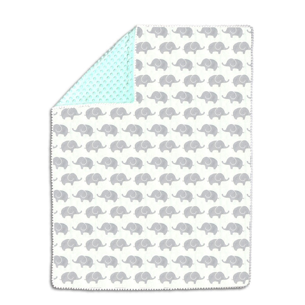 The Peanutshell Mint & Grey Elephants Pompom Blanket - Urban Stroller
