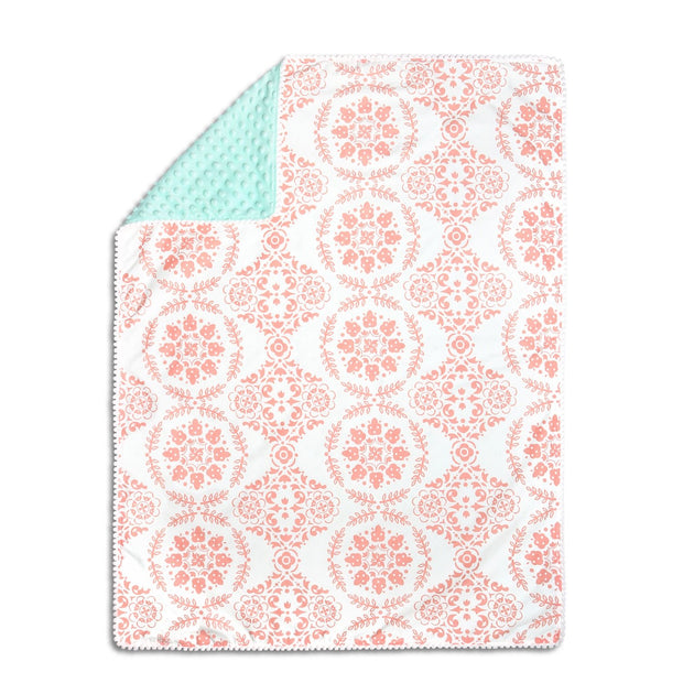 The Peanutshell Mint & Coral Medallion Pompom Blanket - Urban Stroller