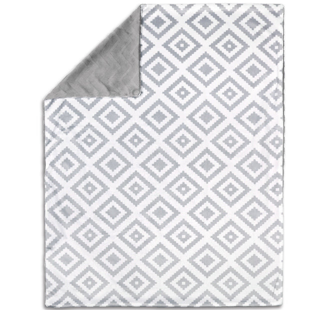 The Peanutshell Tile Print Velour Blanket - Urban Stroller