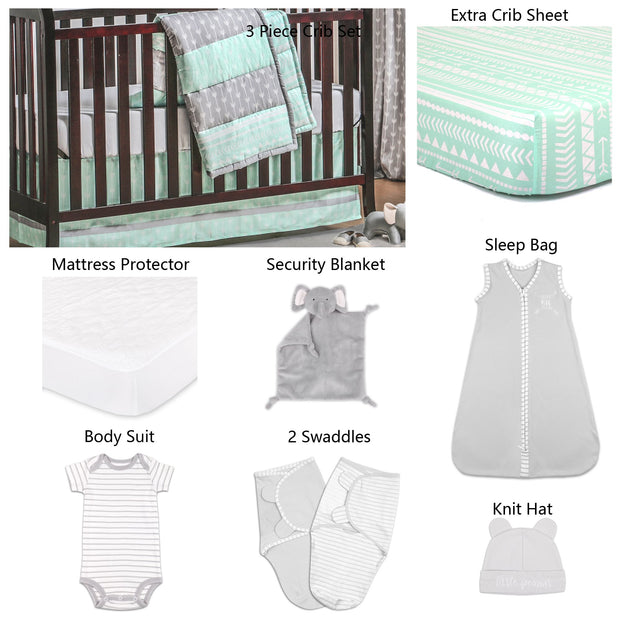 The Peanutshell Straight And Arrow 11 Piece Sleep Essentials Crib Set In Mint & Grey - Urban Stroller