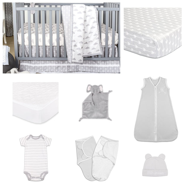 The Peanutshell Cloud Cover 11 Piece Sleep Essentials Crib Set In Grey - Urban Stroller