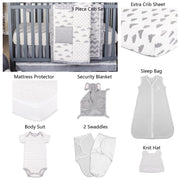 The Peanutshell Patchy Cloud 11 Piece Sleep Essentials Crib Set In Grey - Urban Stroller