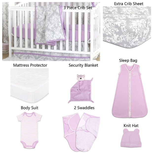 The Peanutshell Damsel Damask 11 Piece Sleep Essentials Crib Set In Purple & Grey - Urban Stroller