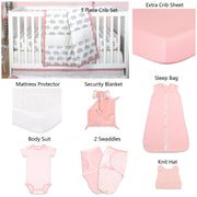 The Peanutshell Ellie Stripe 11 Piece Sleep Essentials Crib Set In Coral & Grey - Urban Stroller