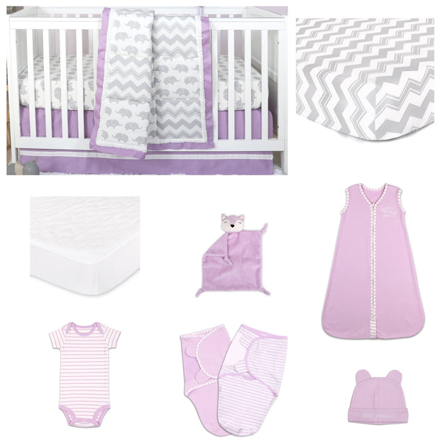 The Peanutshell Ellie Patch 11 Piece Sleep Essentials Crib Set In Purple & Grey - Urban Stroller