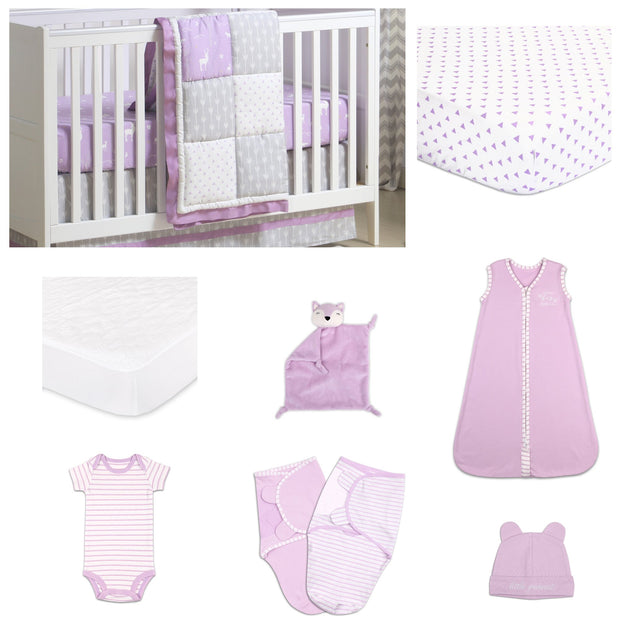 The Peanutshell Wild And Free Patchwork 11 Piece Sleep Essentials Crib Set In Purple & Grey - Urban Stroller