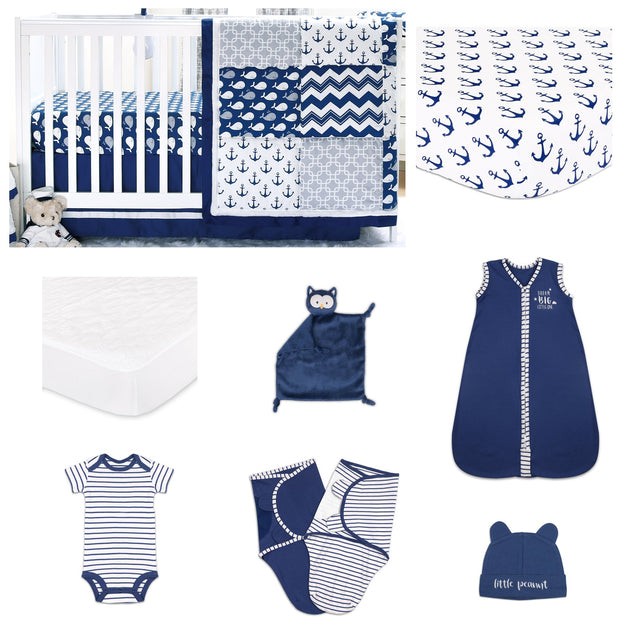The Peanutshell Navy Whale 11 Piece Sleep Essentials Crib Set - Urban Stroller