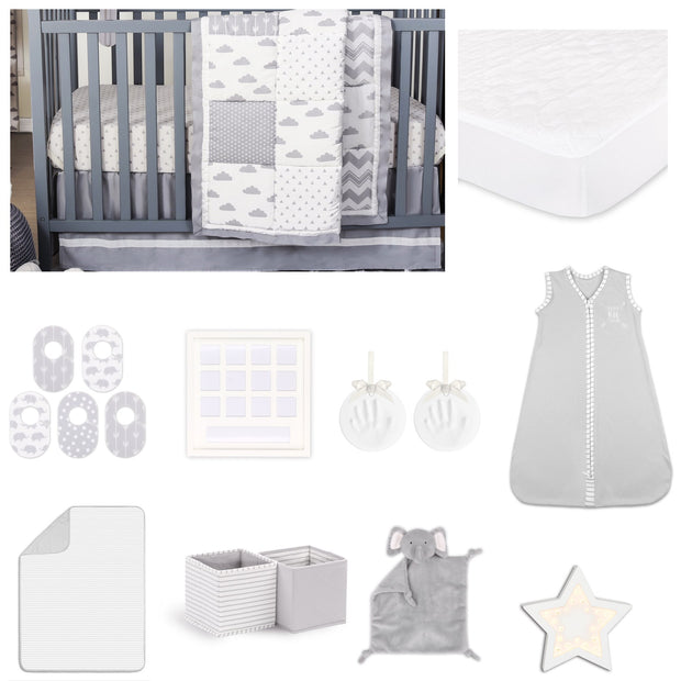 The Peanutshell Patchy Cloud 18 Piece Nursery Essentials Set In Grey - Urban Stroller