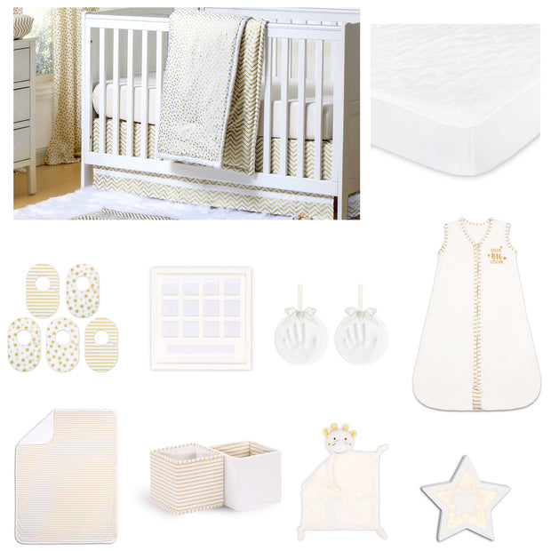 The Peanutshell All That Glitters Confetti 18 Piece Nursery Essentials Set In Gold - Urban Stroller