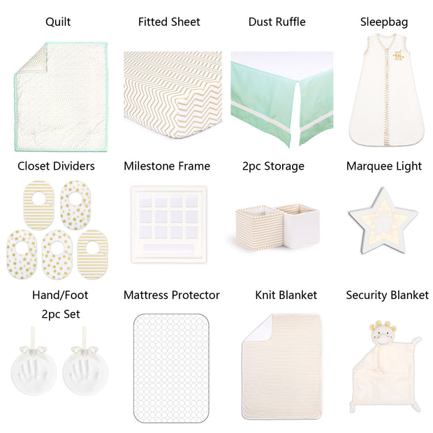 The Peanutshell Minted Confetti 18 Piece Nursery Essentials Set In Mint & Gold - Urban Stroller