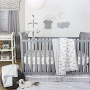 The Peanutshell Cloud Cover Crib Starter Set In Grey - Urban Stroller