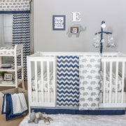 The Peanutshell Eli Chevron Crib Starter Set In Navy & Grey - Urban Stroller