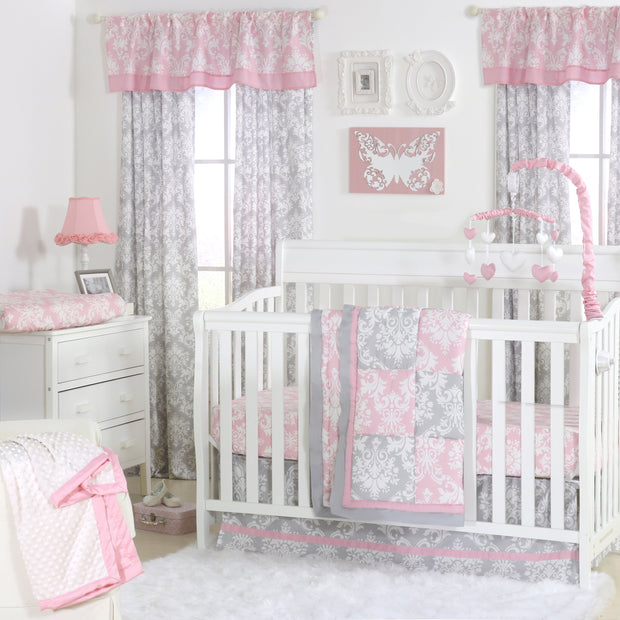 The Peanutshell Damask Delight Patchwork Crib Starter Set In Pink & Grey - Urban Stroller
