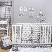 The Peanutshell Ellie Chevron Crib Starter Set In Grey - Urban Stroller
