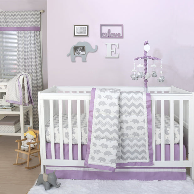The Peanutshell Ellie Patch Crib Starter Set In Purple & Grey - Urban Stroller
