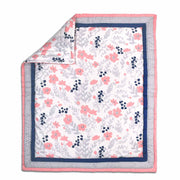 The Peanutshell Floral Dot Crib Starter Set In Coral & Navy - Urban Stroller
