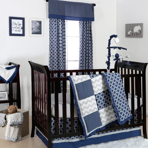The Peanutshell Doodle & Dot Patch Crib Starter Set In Navy & Grey - Urban Stroller