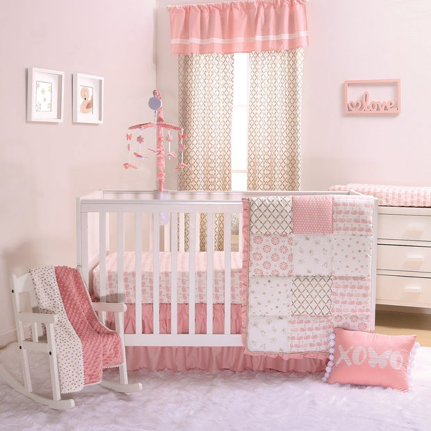 The Peanutshell Sweet Swan Crib Bedding Set - Urban Stroller