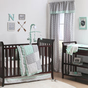 The Peanutshell Adventure Patch Crib Starter Set In Mint & Grey - Urban Stroller