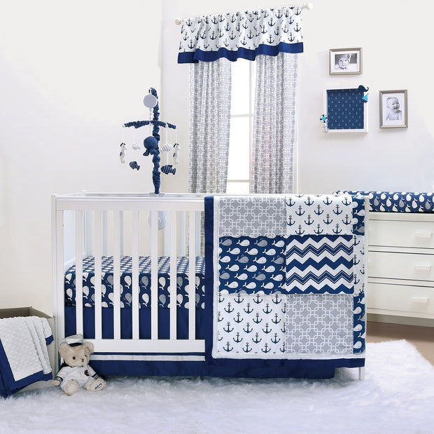 The Peanutshell Navy Whale Crib Bedding Set - Urban Stroller