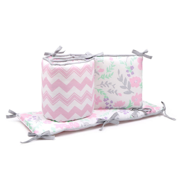 The Peanutshell Chevron And Floral Reversible Crib Bumper Pink - Urban Stroller