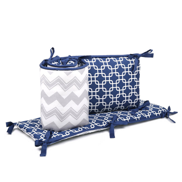 The Peanutshell Geo And Chevron Reversible Crib Bumper In Navy/Grey - Urban Stroller