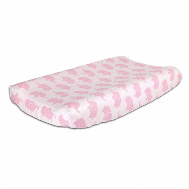 The Peanutshell Pink Elephant Changing Pad Cover - Urban Stroller