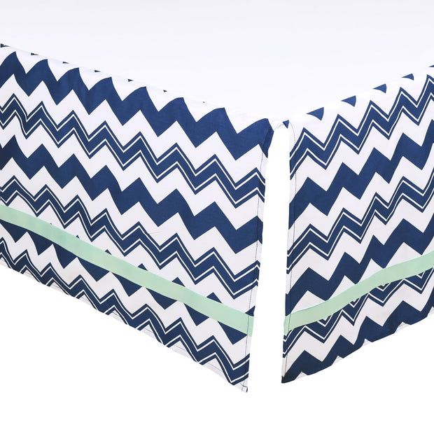 The Peanutshell Navy Chevron Crib Dust Ruffle - Urban Stroller