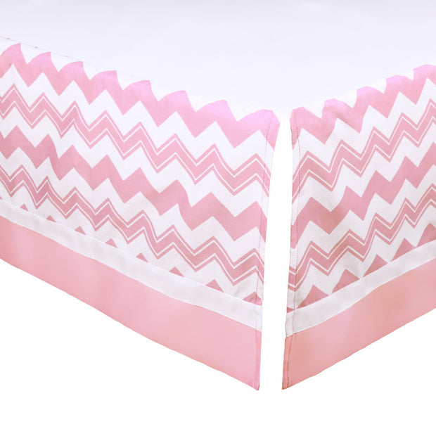 The Peanutshell Pink Chevron Crib Dust Ruffle - Urban Stroller