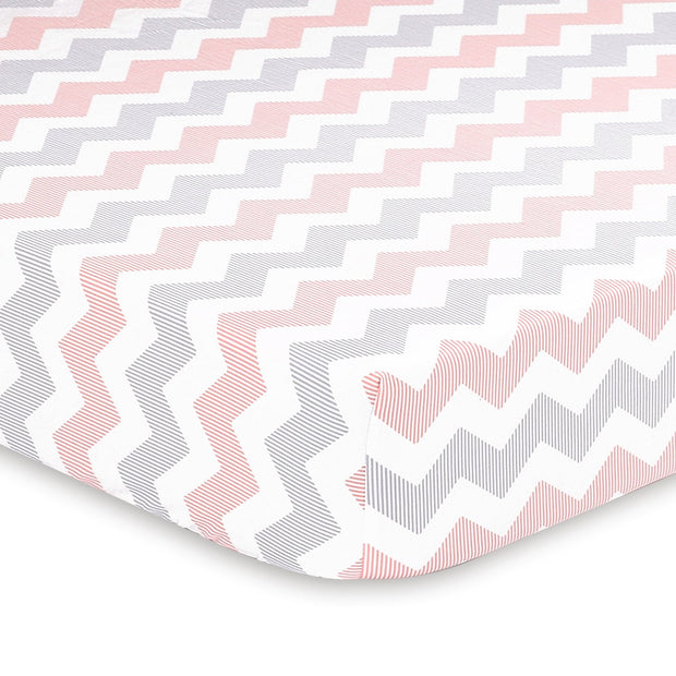 The Peanutshell Uptown Girl Chevron Fitted Crib Sheet - Urban Stroller