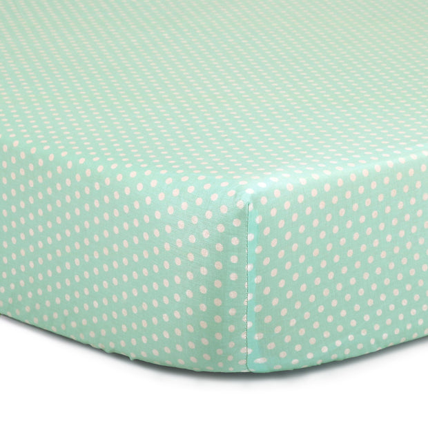 The Peanutshell Mint Dot Fitted Crib Sheet - Urban Stroller