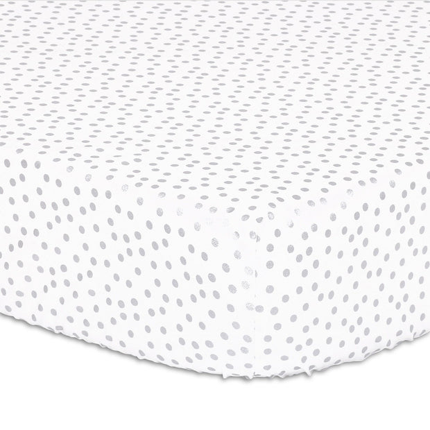The Peanutshell Silver Dot Fitted Crib Sheet - Urban Stroller