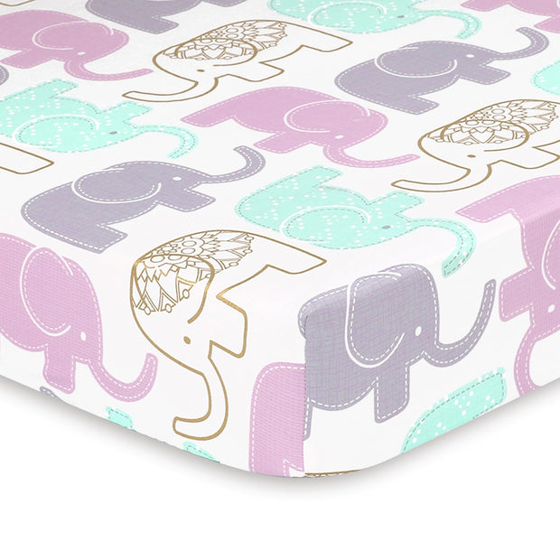 The Peasnutshell Little Peanut Lilac Elephant Fitted Crib Sheet - Urban Stroller