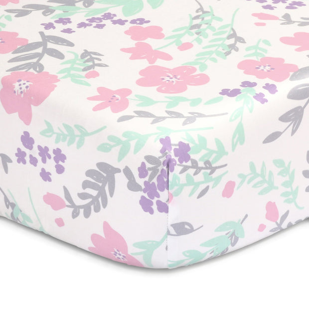 The Peanutshell Pink Floral Fitted Crib Sheet - Urban Stroller