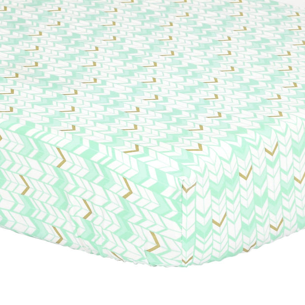 The Peanutshell Turquoise Herringbone Fitted Crib Sheet - Urban Stroller
