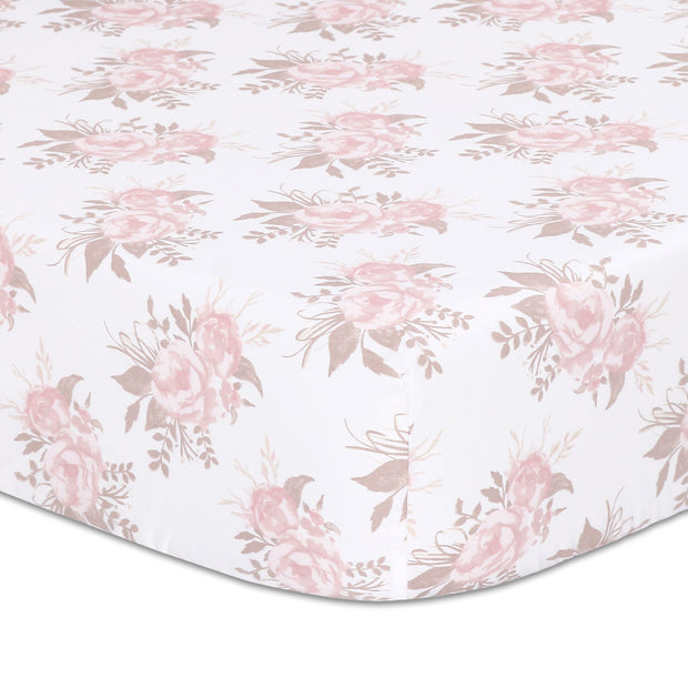 The Peanutshell Grace Floral Fitted Crib Sheet - Urban Stroller