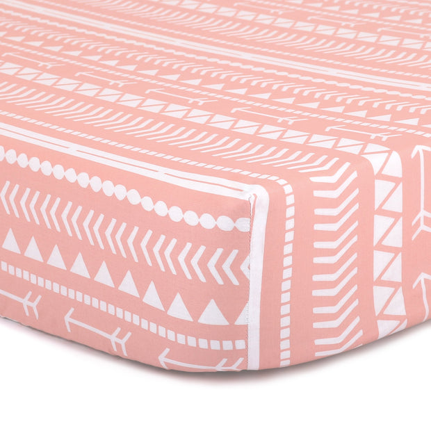 The Peanutshell Coral Tribal Fitted Crib Sheet - Urban Stroller