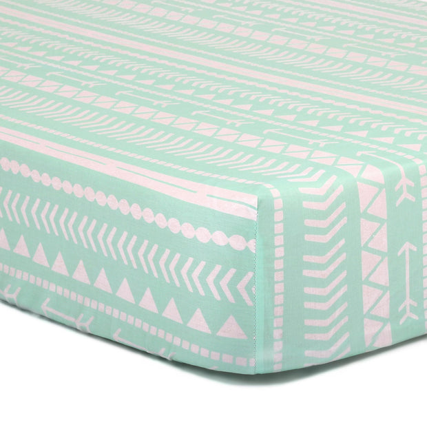 The Peanutshell Mint Tribal Fitted Crib Sheet - Urban Stroller