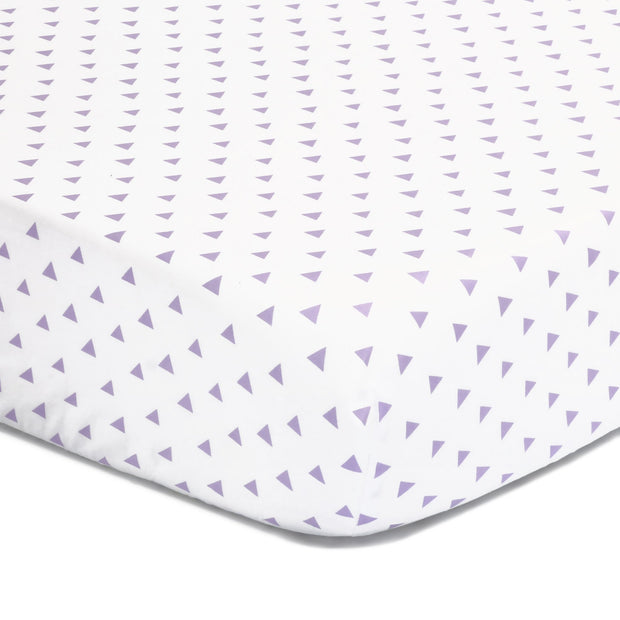 The Peanutshell Purple Triangles Fitted Crib Sheet - Urban Stroller
