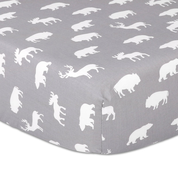 The Peanutshell Woodland Silhouette Grey Fitted Sheet - Urban Stroller
